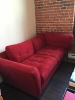 Red loveseat 2 person couch for sale Red