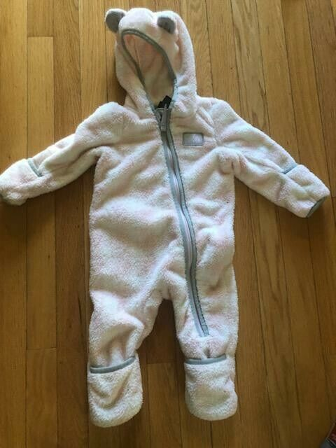 THE NORTH FACE baby girls petticoat pink 1 piece bunting plush fleece pre-owned