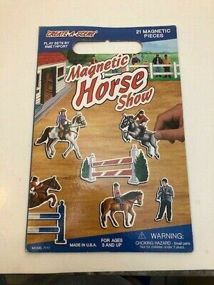 Vintage Create-A-Scene Magnetic Horse Show Play set by Smethport 20 Pieces USA Playset Smethport Toys