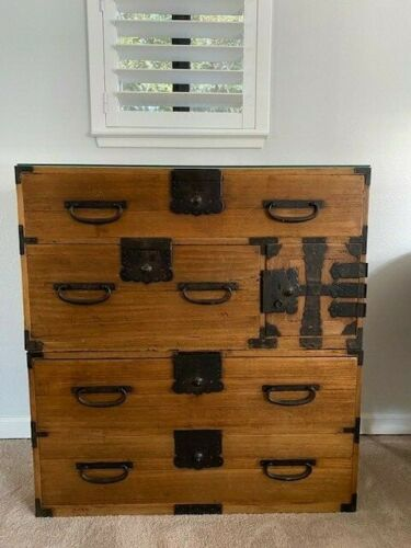 Antique Japanese 5 Drawer Kiri Wood Tansu Chest 2 Sections