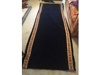 Antique / Vintage Blue Velvet Tapestry Door Curtain