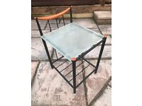 Black metal and glass top table / sidetable / bedside table