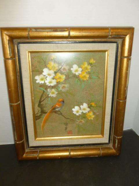"""Vintage Asian  Painting on Cork Songbird & Flowers Bamboo 12""""X14"""" Wood Frame"""