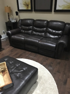 Leather Couch 3 Seat with End Opening Recliners