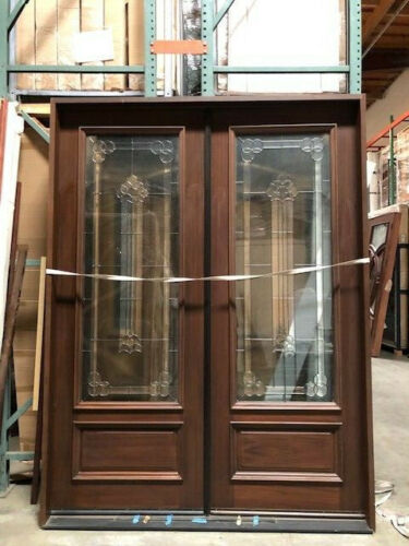 Mahogany6ftX8ft Exterior Double Door Pre-hung&Finished, DMH8101-GL02