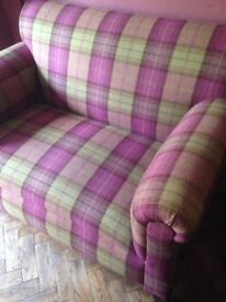2 Seater Sofa with Drop Down Arm Sanderson Plaid Fabric