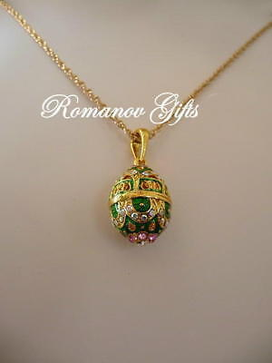 Empress Alexandra Russian Imperial Green Scroll Egg Pendant Necklace  for sale  Highlands