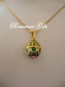 Russian egg pendant ebay empress alexandra russian imperial green scroll egg pendant necklace mozeypictures Gallery