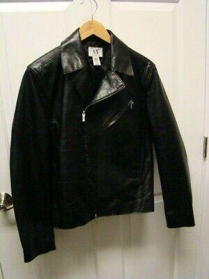 $795 A|X Armani Exchange 100% AUTHENTIC Black Men's Leather Moto Jacket S small