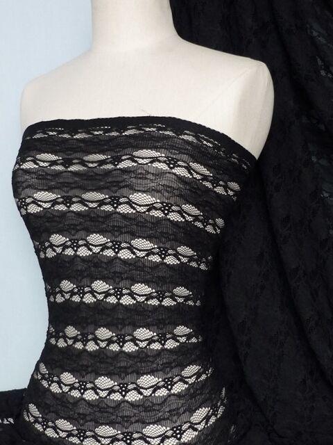 Black 4 way stretch stripe design lace fabric Q585 BK