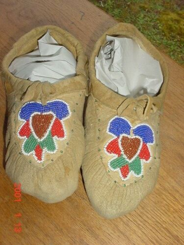 OLD NEZ PERCE INDIAN BEADED HIDE MOCCASINS