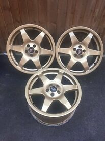 "3x 17"" Gold Technomagnesio Subaru wheels"