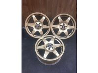 "3x 17"" Gold Technomagnesio Subaru wheels"