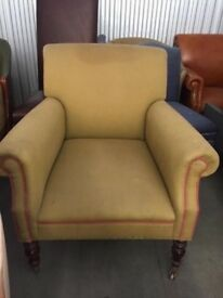 Large Vintage Style Fabric Armchair | Green