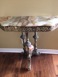 Marble green onyx console
