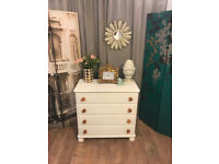 Lovely shabby chic pine chest of four drawers by Ducal