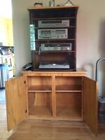 SOLID WOOD STEREO STAND WITH COMPONENTS - REDUCED - MUST SELL!