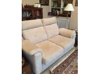 2-seater sofa bed in cream with metal pull out bed