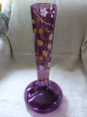 "Antique Bohemian Moser Enamelled Vase Purple Glass Wild Strawberry 11"" Tall"