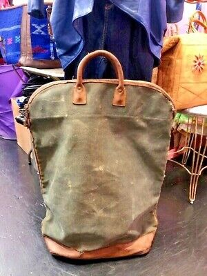 1940s Handbags and Purses History Antic 1940's Travel bag Leather & Canvas $55.29 AT vintagedancer.com