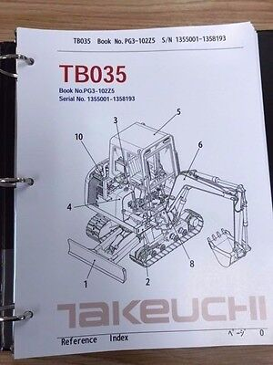 Takeuchi Tb035 Parts Manual Sn 1355001-1358193 And Up Free Priority Shipping