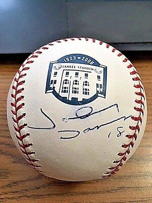 (JOHNNY DAMON SIGNED AUTOGRAPHED OML YANKEE STADIUM 75th YEAR BASEBALL! JSA! )