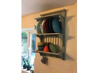 Blue Rustic Plate Rack - Not on the High Street - Brand New (in Box)