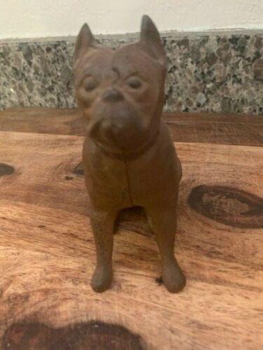 Vintage Hubley Cast Iron Metal Still Bank Bulldog Boxer Bull Dog Original Finish