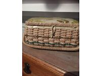 Vintage cute wicker style sewing box