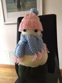 Snowman, hand knitted soft stuffed snowman.