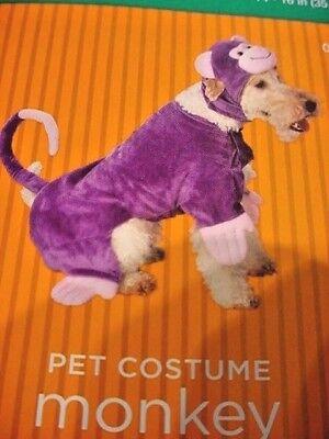 PLUSH PET DOG COSTUME PURPLE MONKEY 2 PIECE SZ M 13-20 LBS NWT