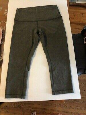 Lululemon Wunder Under Crop Legging Olive Green High Rise   Size 12