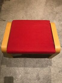 2 red footstools and 4 cushions