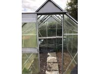 8X6 ft Greenhouse for sale. Buyer to dismantle & collect. 1 pane broken, shown in photo.