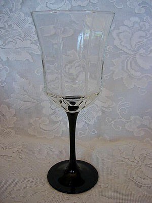 Black & Crystal Blown Glass Octagon Paneled Wine / WaterGoblet  - Made in France