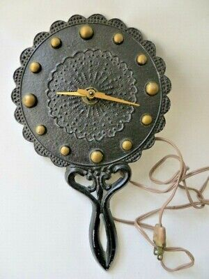 Black Wrought Iron Electric Wall Trivet Clock Old Tested Works