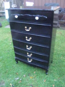 5 drawer french provincial tall boy dresser freshly painted