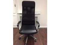 Office chair - black, excellent quality, adjustable, £50 ONO