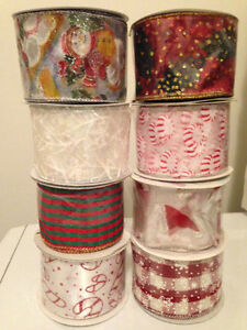 NEW!!!!!!!  8 ROLLS OF WIRED CHRISTMAS RIBBON