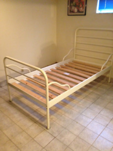 Ikea white steel single bed frame