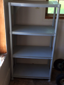 grey plastic 4 shelving unit