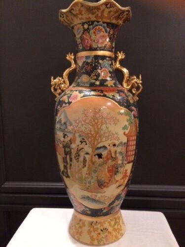 """Large 24"""" Japanese Satsuma Hand Painted Art Vase"""