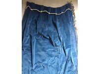 Two dark blue velvet curtains with tassel fringing (house clearance) BATTERSEA COLLECTION