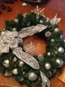 Brand New! Silver Christmas Wreath with Lights