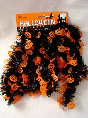 Vintage YOUNG CRAFT Garland HALLOWEEN Orange & Black Pumpkins, 12 Ft., Package