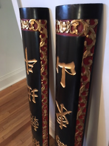 Pair of Antique Chinese Wooden Pillars
