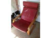 Two Red Leather IKEA Poang Chairs