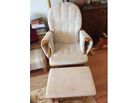 Cream glider / rocking nursing chair and footstool. Excellent condition