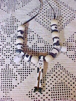 Costume Necklace Wooden Beads Black and White Cow with Bottles of Milk Ribbon (Milk Bottle Costume)