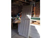 12 x Indoor White Wood 4 Panel Doors with Brushed Chrome Door handles